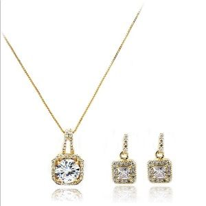 gold small square crystal earrings necklace set